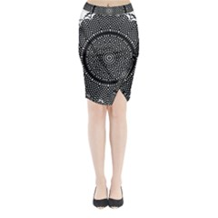 Black Lace Kaleidoscope On White Midi Wrap Pencil Skirt