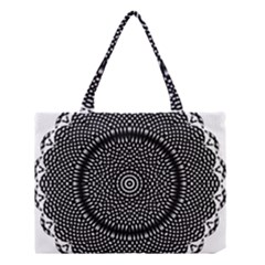 Black Lace Kaleidoscope On White Medium Tote Bag