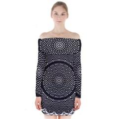 Black Lace Kaleidoscope On White Long Sleeve Off Shoulder Dress