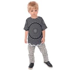 Black Lace Kaleidoscope On White Kids  Raglan Tee
