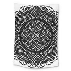 Black Lace Kaleidoscope On White Large Tapestry