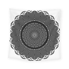 Black Lace Kaleidoscope On White Square Tapestry (small)
