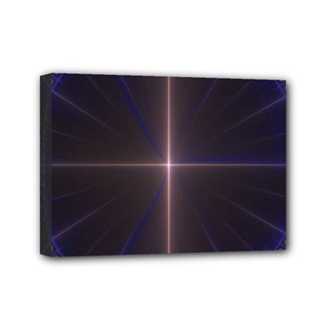 Color Fractal Symmetric Blue Circle Mini Canvas 7  X 5