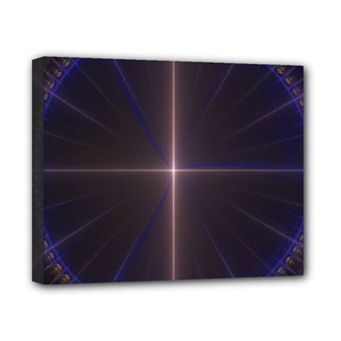 Color Fractal Symmetric Blue Circle Canvas 10  X 8
