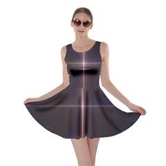 Color Fractal Symmetric Blue Circle Skater Dress