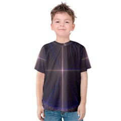 Color Fractal Symmetric Blue Circle Kids  Cotton Tee