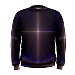 Color Fractal Symmetric Blue Circle Men s Sweatshirt