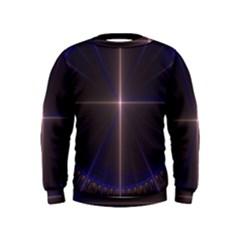 Color Fractal Symmetric Blue Circle Kids  Sweatshirt