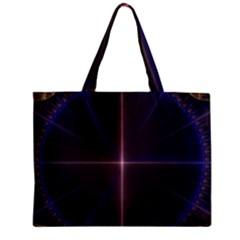 Color Fractal Symmetric Blue Circle Zipper Mini Tote Bag