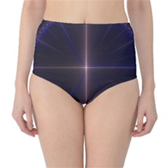 Color Fractal Symmetric Blue Circle High Waist Bikini Bottoms