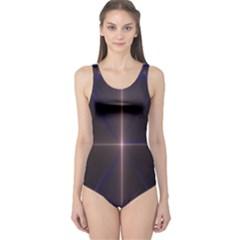 Color Fractal Symmetric Blue Circle One Piece Swimsuit