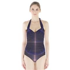 Color Fractal Symmetric Blue Circle Halter Swimsuit