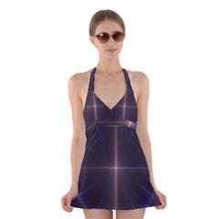 Color Fractal Symmetric Blue Circle Halter Swimsuit Dress
