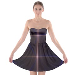 Color Fractal Symmetric Blue Circle Strapless Bra Top Dress
