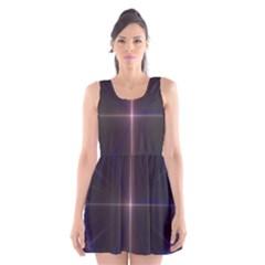 Color Fractal Symmetric Blue Circle Scoop Neck Skater Dress