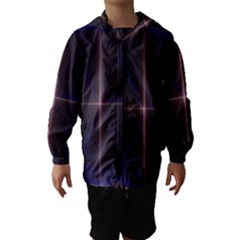 Color Fractal Symmetric Blue Circle Hooded Wind Breaker (kids)