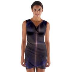 Color Fractal Symmetric Blue Circle Wrap Front Bodycon Dress