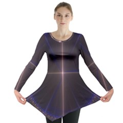Color Fractal Symmetric Blue Circle Long Sleeve Tunic