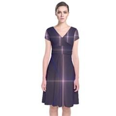 Color Fractal Symmetric Blue Circle Short Sleeve Front Wrap Dress