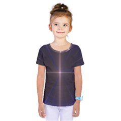 Color Fractal Symmetric Blue Circle Kids  One Piece Tee