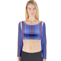 Colorful Stripes Background Long Sleeve Crop Top