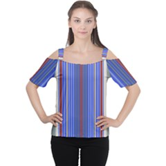 Colorful Stripes Background Women s Cutout Shoulder Tee