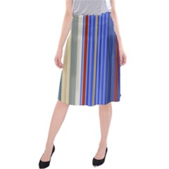 Colorful Stripes Background Midi Beach Skirt