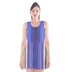 Colorful Stripes Background Scoop Neck Skater Dress