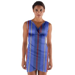 Colorful Stripes Background Wrap Front Bodycon Dress