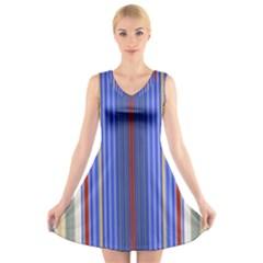 Colorful Stripes Background V Neck Sleeveless Skater Dress