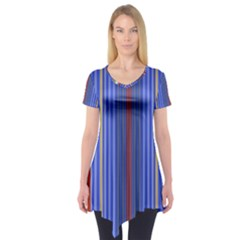 Colorful Stripes Background Short Sleeve Tunic