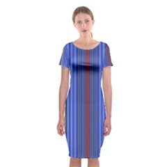 Colorful Stripes Background Classic Short Sleeve Midi Dress