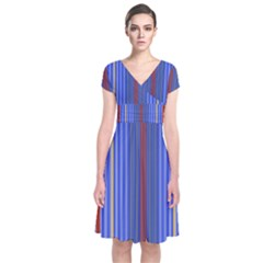 Colorful Stripes Background Short Sleeve Front Wrap Dress