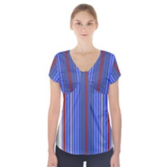 Colorful Stripes Background Short Sleeve Front Detail Top