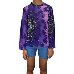 Blue Digital Fractal Kids  Long Sleeve Swimwear