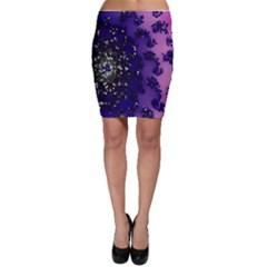 Blue Digital Fractal Bodycon Skirt
