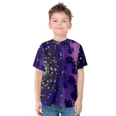 Blue Digital Fractal Kids  Cotton Tee