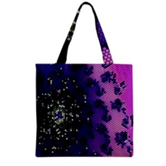 Blue Digital Fractal Grocery Tote Bag
