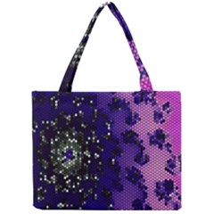 Blue Digital Fractal Mini Tote Bag