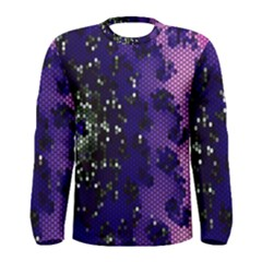 Blue Digital Fractal Men s Long Sleeve Tee
