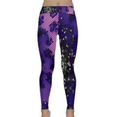 Blue Digital Fractal Classic Yoga Leggings