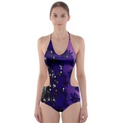 Blue Digital Fractal Cut Out One Piece Swimsuit