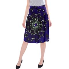 Blue Digital Fractal Midi Beach Skirt