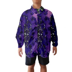Blue Digital Fractal Wind Breaker (Kids)