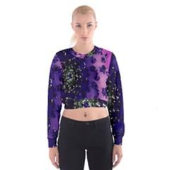 Blue Digital Fractal Women s Cropped Sweatshirt