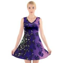 Blue Digital Fractal V Neck Sleeveless Skater Dress
