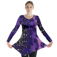 Blue Digital Fractal Long Sleeve Tunic