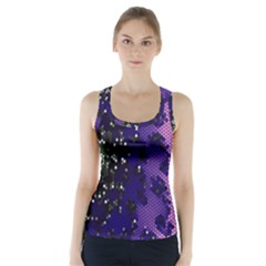 Blue Digital Fractal Racer Back Sports Top