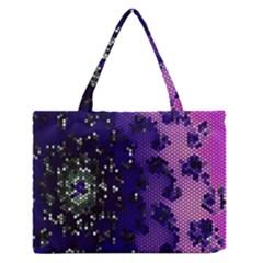 Blue Digital Fractal Medium Zipper Tote Bag