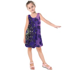 Blue Digital Fractal Kids  Sleeveless Dress